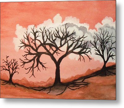 Metal Print featuring the painting Atumn Trees by Connie Valasco