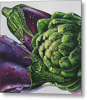 Aubergines And An Artichoke Metal Print by Tracy Male