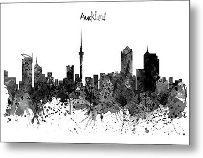 Auckland Black And White Watercolor Skyline Metal Print by Marian Voicu