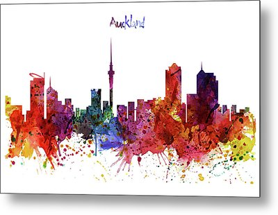 Auckland Watercolor Skyline Metal Print by Marian Voicu