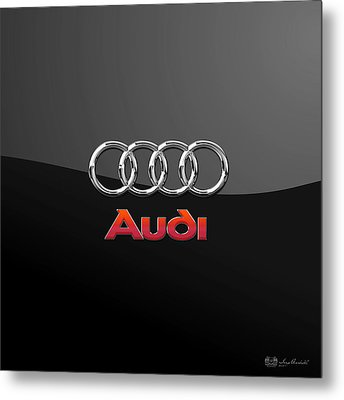 Audi 3 D Badge On Black Metal Print by Serge Averbukh
