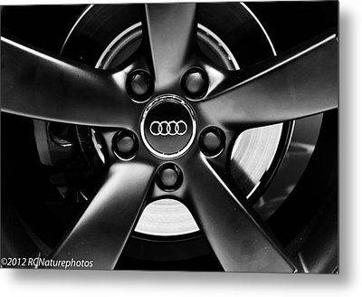 Audi Wheel  Monochrome Metal Print