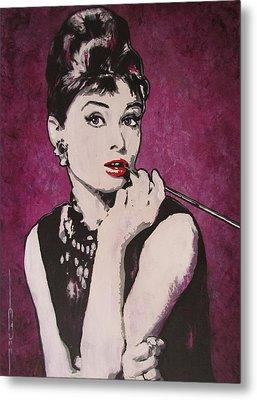 Audrey Hepburn - Breakfast Metal Print