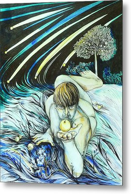 Metal Print featuring the drawing August by Anna  Duyunova