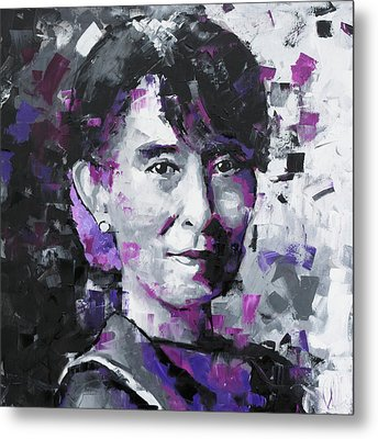 Metal Print featuring the painting Aung San Suu Kyi by Richard Day
