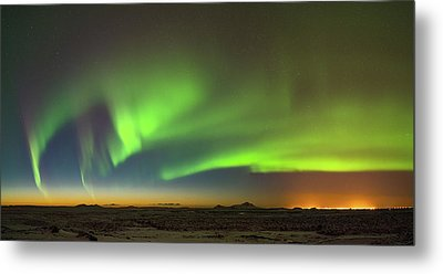 Aurora Above Keflavik In Iceland. Metal Print by Andy Astbury