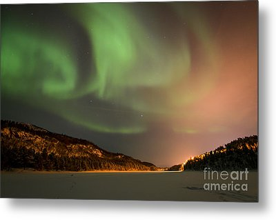 Aurora Above Kvenvik Lake Metal Print by Helge Larsen
