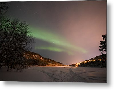 Aurora Above Kvenvik Lake2 Metal Print by Helge Larsen