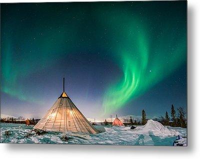 Aurora Above Sami Tent Metal Print