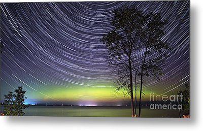 Aurora And Star Trails Over Lake Simcoe Metal Print by Charline Xia