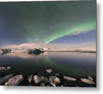 Metal Print featuring the photograph Aurora Borealis And Reflection by Wanda Krack