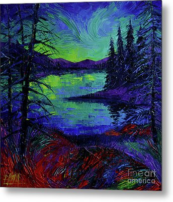 Aurora Borealis Dreamscape Modern Impressionist Palette Knife Oil Painting Metal Print