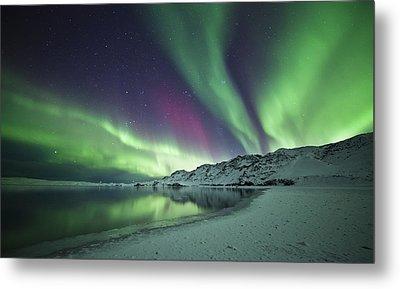Aurora Borealis In Iceland Metal Print by Arnar B Gudjonsson