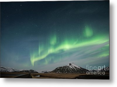 Aurora Borealis Over Iceland Metal Print by Sandra Bronstein