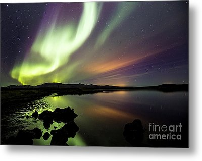 Aurora Borealis Over Thinvellir Metal Print