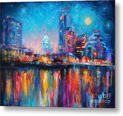 Austin Art Impressionistic Skyline Painting #2 Metal Print