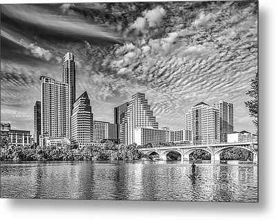 Austin Cityscape In Black And White Metal Print