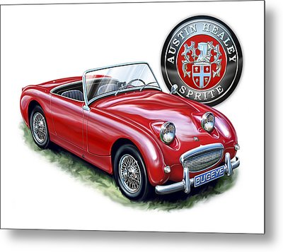 Austin Healey Bugeye Sprite Red Metal Print by David Kyte