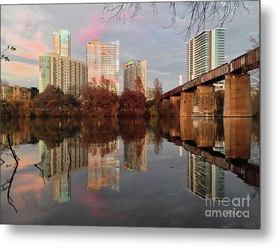Austin Hike And Bike Trail - Train Trestle 1 Sunset Triptych Left Metal Print