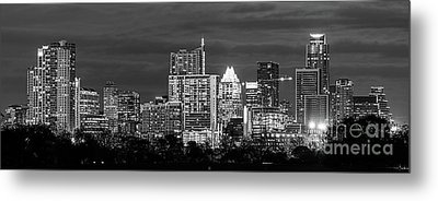 Austin In Black And White Pano Metal Print by Tod and Cynthia Grubbs