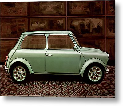 Austin Mini Cooper Mixed Media Metal Print by Paul Meijering