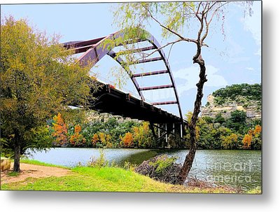 Austin Pennybacker Bridge In Autumn Metal Print