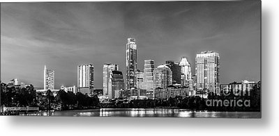 Austin Skyline Pano In Black And White Metal Print by Tod and Cynthia Grubbs