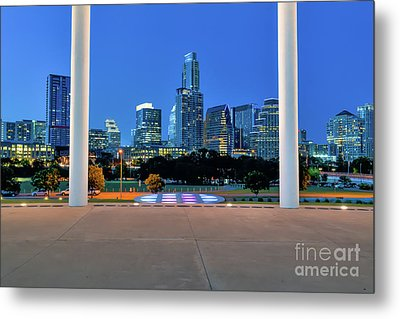 Austin Skyline Twilight At Long Center Metal Print by Tod and Cynthia Grubbs