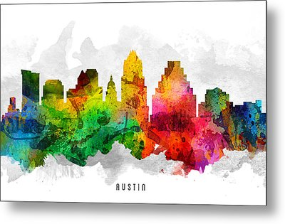 Austin Texas Cityscape 12 Metal Print by Aged Pixel