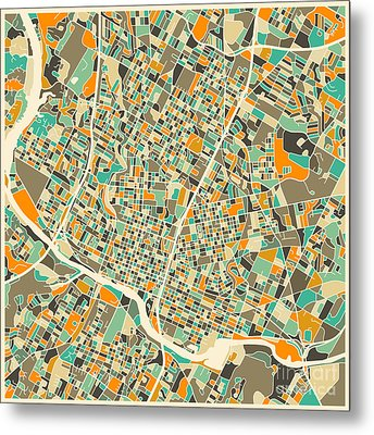 Austin Map Metal Print by Jazzberry Blue