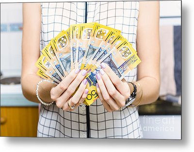 Australian Woman Holding 500 In 50 Dollar Notes Metal Print