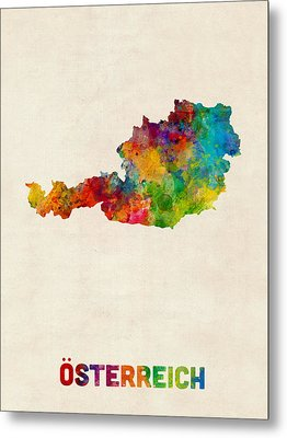 Austria Watercolor Map Metal Print by Michael Tompsett