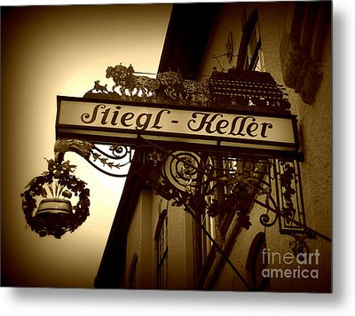 Austrian Beer Cellar Sign Metal Print by Carol Groenen