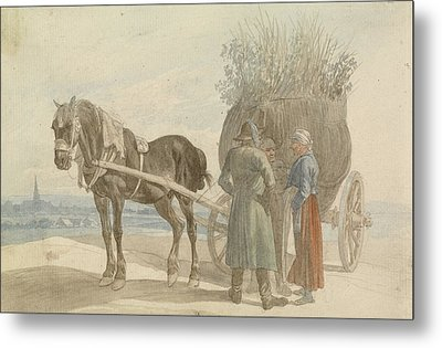 Austrian Peasants With A Horse And Cart Metal Print by Celestial Images