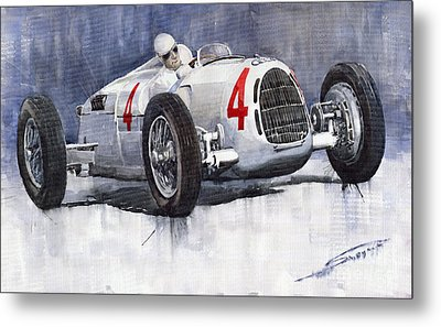 Auto Union C Type 1937 Monaco Gp Hans Stuck Metal Print by Yuriy  Shevchuk