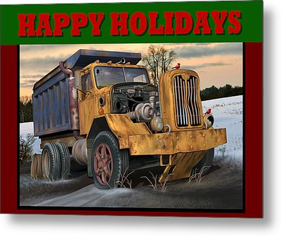 Autocar Happy Holidays Metal Print by Stuart Swartz