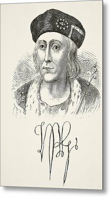 Autograph And Portrait Of King Henry Metal Print