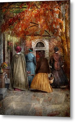 Autumn - People - A Walk Downtown  Metal Print by Mike Savad