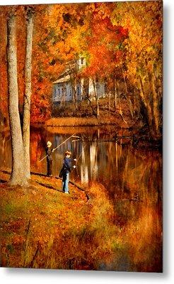 Autumn - People - Gone Fishing Metal Print by Mike Savad