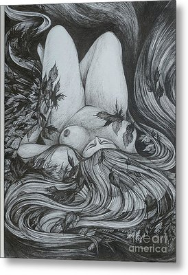 Metal Print featuring the drawing Autumn 2 by Anna  Duyunova