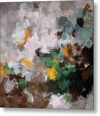 Metal Print featuring the painting Autumn Abstract Painting by Ayse Deniz