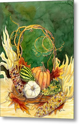 Autumn Abundance - Fall Harvest Basket Indian Corn Pumpkin Gourds Metal Print by Audrey Jeanne Roberts