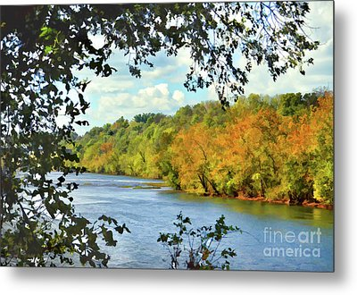 Metal Print featuring the photograph Autumn Along The New River - Bisset Park - Radford Virginia by Kerri Farley
