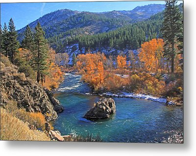 Autumn Along The Truckee River Metal Print by Donna Kennedy