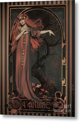 Autumn Art Nouveau  Metal Print