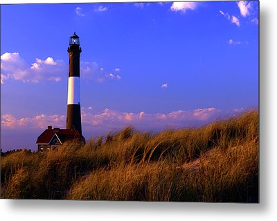 Autumn At Fire Island Lighthouse Metal Print