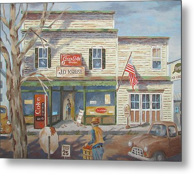 Autumn At The Corner Country Store Metal Print by Tony Caviston