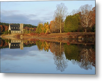 Autumn At The Old Stone Church Metal Print