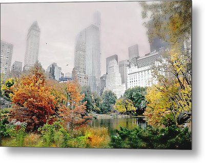 Autumn At The Pond Metal Print