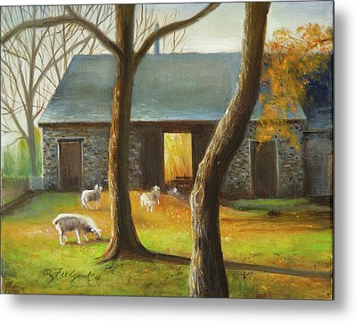 Autumn At The Sheep Barn Metal Print